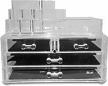 Cosmetic organizer, makeup organizer from Stometique. Acrylic makeup organizer offers total makeup storage, elegant shatterproof two part design, 5 tiers, lipstick organisation, easy to clean. Buy now for your total makeup organizer solution. by Stometique