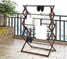 COSS Home Falten Kleiderständer, Double Rod Coat Rack / Drying Racks Klassische Kleiderbügel ( Farbe : Walnut Farbe )