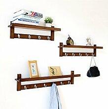 COSS Wandregal, einfaches Wohnzimmer Creative Hook Coat Rack, Massivholz Wand hängen Klassische Kleiderbügel ( Farbe : Retro Farbe , größe : X )
