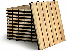 COSTWAY 10er Set 30x30cm Terrassenfliesen Holz,