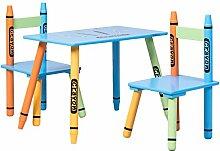 COSTWAY 3 tlg. Kindersitzgruppe Kindermöbel Kindertisch mit 2 Stühlen Holz Maltisch buntstif