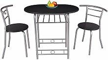 Costway 3tlg. Küchenbar Sitzgruppe Essgruppe Balkonset Küchentisch Bartisch Esstisch mit 2 Stühle Farbwahl (Schwarz)