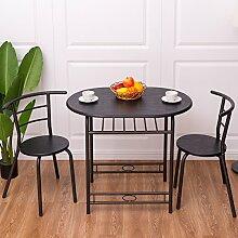 Costway 3tlg. Küchenbar Sitzgruppe Essgruppe Balkonset Küchentisch Bartisch Esstisch mit 2 Stühlen Farbwahl (Schwarz)