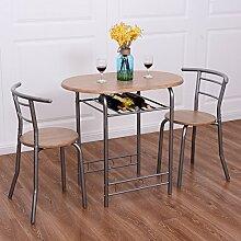 Costway 3tlg. Küchenbar Sitzgruppe Essgruppe Balkonset Küchentisch Bartisch Esstisch mit 2 Stühle Farbwahl (Natur)