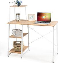 Costway Computertisch mit 4 Regal Schreibtisch