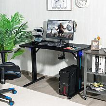 Costway Gaming Tisch T-förmiger Computertisch LED