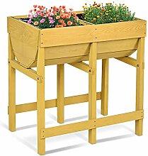COSTWAY Hochbeet Holz, Blumenbeet, Blumenkasten