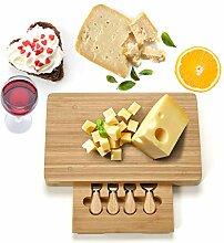 COSTWAY Käsebrett mit 4tlg. Besteck, Käseset aus