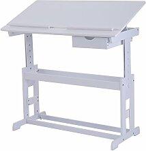 COSTWAY Kinderschreibtisch Kindermöbel Kinderzimmer Kindertisch Schreibtisch Schnülerschreibtisch Computertisch Bürotisch neigungsverstellbar höhenverstellbar Farbewahl (Weiss)