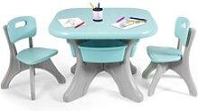 COSTWAY Kindersitzgruppe Kindertisch mit 2