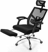 COSTWAY Kippbarer Bürostuhl mit einziehbarer