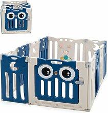 COSTWAY Laufgitter mit Tür und Spielzeugboard,