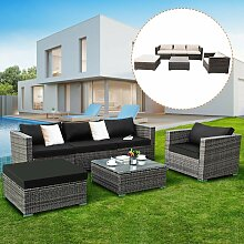 COSTWAY Polyrattan Lounge Sitzgruppe Set