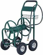 Costway Schlauchwagen Gartenschlauchwagen Schlauchaufroller Schlauchhalter Schlauchtrommel mit Korb Metall grün