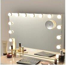COSTWAY Schminkspiegel Kosmetikspiegel, mit 15 LED