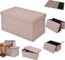 COSTWAY Sitzhocker mit Stauraum Sitzwürfel Sitzbox Sitzbank Aufbewahrungsbox Ottomane faltbar Farbwahl 76x38x38cm (hellbraun)