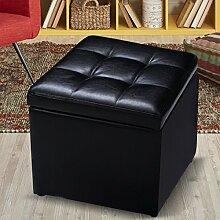 COSTWAY Sitzhocker mit Stauraum Sitzwürfel Sitzbox Sitzbank Aufbewahrungsbox Ottomane Polsterhocker Farbwahl PU-Leder 40x40x40cm (Schwarz)