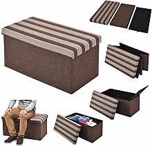 COSTWAY Sitzhocker mit Stauraum Sitzwürfel Sitzbox Sitzbank Aufbewahrungsbox Ottomane faltbar 76x38x38cm braun gestreif