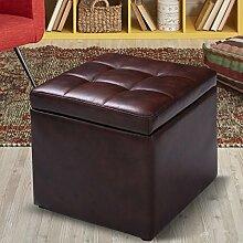 COSTWAY Sitzhocker mit Stauraum Sitzwürfel Sitzbox Sitzbank Aufbewahrungsbox Ottomane Polsterhocker Farbwahl PU-Leder 40x40x40cm (Braun)