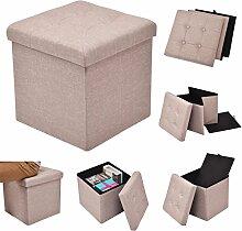 Costway Sitzhocker mit Stauraum Sitzwürfel Sitzbox Sitzbank Aufbewahrungsbox Ottomane faltbar 38x38x38cm Farbwahl (hellbraun)