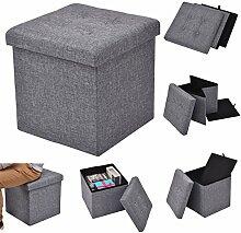 Costway Sitzhocker mit Stauraum Sitzwürfel Sitzbox Sitzbank Aufbewahrungsbox Ottomane faltbar 38x38x38cm Farbwahl (grau)
