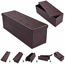 COSTWAY Sitzhocker Sitzbank faltbar Sitzbox Aufbewahrungsbox Sitzwürfel Hocker Bank Sitztruhe Truhe Sitzkasten Polsterhocker PVC-Leder Farbwahl 114 x 38 x 38cm (Braun)