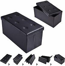 COSTWAY Sitzhocker Sitzbank faltbar Sitzbox Aufbewahrungsbox Sitzwürfel Hocker Bank Sitztruhe Truhe Sitzkasten Polsterhocker PVC-Leder Farbwahl 76 x 38 x 38cm (Schwarz)