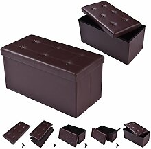 COSTWAY Sitzhocker Sitzbank faltbar Sitzbox Aufbewahrungsbox Sitzwürfel Hocker Bank Sitztruhe Truhe Sitzkasten Polsterhocker PVC-Leder Farbwahl 76 x 38 x 38cm (Braun)