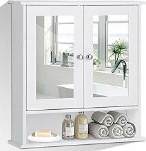COSTWAY Spiegelschrank Badezimmer, Badschrank mit