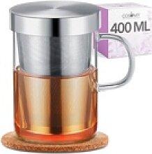 Cosumy Teeglas Teetasse mit Sieb und Deckel