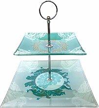 Cosy & Trends Etagere aus Glas, Eckig, 2-stöckig