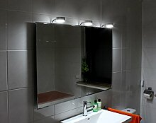 Cotnar Led Leuchtspiegel Beleuchteter Badspiegel Mit Steilfacette 170x70cm Und 3 Lampen und 5mm Stärke