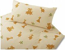 Cotonea Biber Kinder-Bettwäsche Giraffe kbA