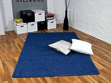 Cottage Teppich Hochflor Shaggy Blau in 24 Größen