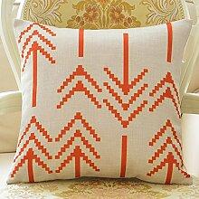 Cotton And Linen Pillow,Geometric Cushions,Cotton-Linen Sofa Cushion,Office Seat Cushions-D 45x45cm(18x18inch)VersionA