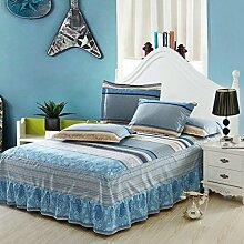 Cotton Bedspread Bett Rock Matratzenschoner Mehrfarbig Multi-size,Blue-180*200cm