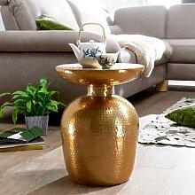 Couch Beistelltisch in Goldfarben handgearbeitet