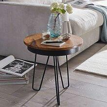 Couch Beistelltisch mit runder Massivholzplatte