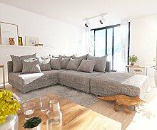 Couch Clovis modular - Ecksofa, Sofa, Wohnlandschaft & Modulsofa (Hellgrau, Ecksofa Links mit Hocker)