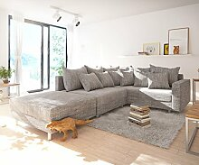 Couch Clovis modular - Ecksofa, Sofa, Wohnlandschaft & Modulsofa (Hellgrau, Ecksofa Rechts mit Hocker + Armlehne)