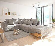Couch Clovis modular - Ecksofa, Sofa, Wohnlandschaft & Modulsofa (Hellgrau, Ecksofa Links mit Hocker + Armlehne)