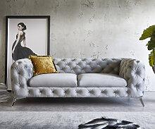 Couch Corleone 225x97 cm Grau Samt 3-Sitzer Sofa