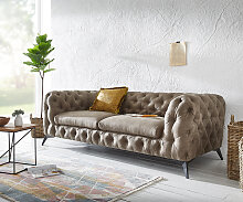 Couch Corleone 225x97 cm Taupe Vintage 3-Sitzer