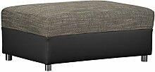 Couch Hocker / Design Hocker in Grau-Schwarz / Bequemer Sitz- und Fußhocker mit Strukturstoff und Leder-Optik / 96 x 66 x 42 cm (B x T x H)