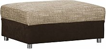 Couch Hocker / Moderner Hocker in Cappuccino / Bequemer Sitzhocker mit Strukturstoff / 96 x 66 x 42 cm (B x T x H)
