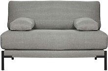 Couch in Hellgrau Webstoff Federkern