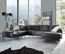 Couch Silas Schwarz 300x200 cm Ottomane Links Designer Wohnlandschaf