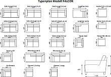 Couchgarnitur Falcor 3-Sitzer und 2 Sessel
