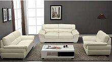 Couchgarnitur Leder 3+2+1 THIBAULT - Elfenbein