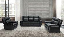Couchgarnitur Leder mit elektrischer Relaxfunktion